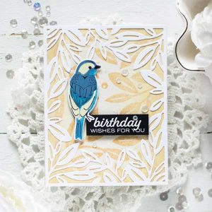 Papertrey Ink Prosperous Leaves Background Stamp class=