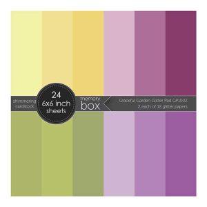 "Memory Box Glitter Paper Pad 6""X6"" - Graceful Garden"
