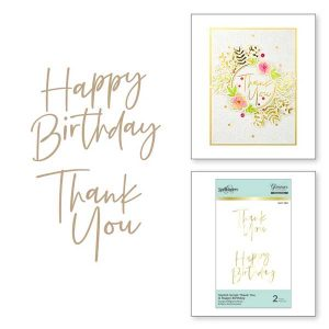 Spellbinders Stylish Script Thank You and Happy Birthday Glimmer Hot Foil Plate class=