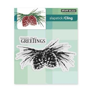 Penny Black Brush Pines Slapstick/Cling Stamp