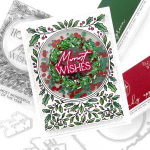 Pinkfresh Studio Happy Holidays Circle Frame Stamp class=