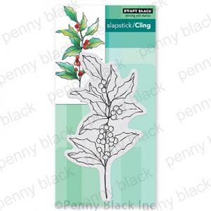 Penny Black Holly Berry Branch Slapstick/Cling Stamp